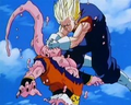 Super Vegito smashing Gohan absorbed Super Buu in the face