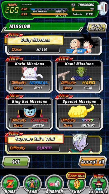 Mission di Dragon Ball Z: Dokkan Battle.
