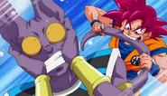 Goku mordiendo a Bills