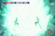 Vegeta and Goku as God Broly powers up