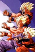 Goku , gohan , goten vs broly