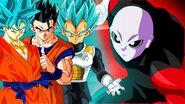 Goku, Gohan, and Vegeta (also Jiren)