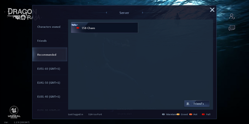 Tabs of server ranges are listed on the left. Open space to the right lists said servers.