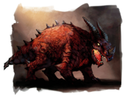 A stocky red dragon, wingless and horned.