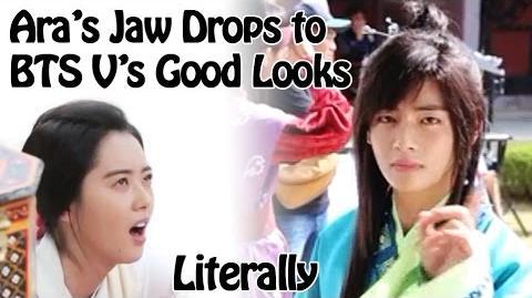 Eng Sub BTS V Taehyung's good looking allures Aro in Hwarang Making Film 방탄소년단 뷔 김태형 잘생김터짐