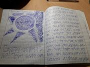 Writing on paper by the Crootch language writing system.jpg
