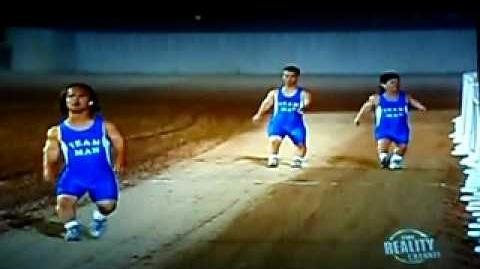 4 midgets relay race against a camel.