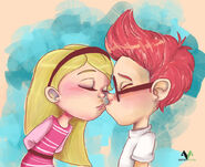 Sherman and Penny Peterson kissing fan art by asinevenisa-d7785j4