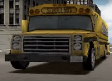 A Shot From One Of The Driver 2 Gameplay Trailers Showing The Original Bus Design - Notice The Stacked Headlights, Mustard Yellow Paint, And Older Signal Style Lights.png