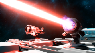 Two Laser Weapon Units. The One on the Left is not firing while the one on the Right is firing