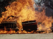 The General Lee going through flames from burning fuel tanker