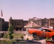 General Lee in midair on Hazzard square