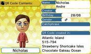 Nicholas Andre QR Code Contents