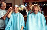 Harry and Lloyd getting a haircut