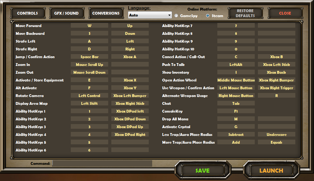 Controls and Keybindings for PC