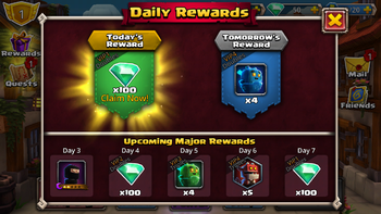 Daily Rewards (prior to the last game update)