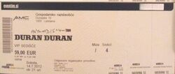 Ljubljana (Slovenia), Gospodarsko Razstavišče wikipedia duran duran concert ticket stub review.jpg