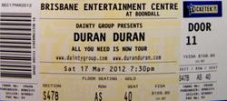 OZZY TICKET duran duran brisbane entertainment center australia 2012 concert2.png