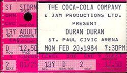 Duran Duran Concert Ticket Stub Feb 20 1984 Minneapolis st paul civic arena wikipedia usa.JPG