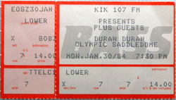 Ticket duran duran band Olympic Saddledome in Calgary canada. Dated Monday, January 30, 1984.png