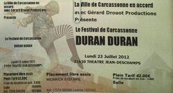 Ticket Carcassonne (France), Théâtre Jean Deschamps duran duran show wikipedia.jpg