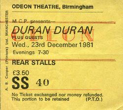 Odeon Birmingham (UK) - wikipedia duran duran ticket stub collection.jpg
