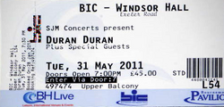 Ticket duran duran windsor hall exeter road bournemouth 31 may 2011.png