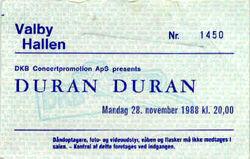 Valby-Hallen, Copenhagen, Denmark wikipedia look at ticket stubs duran duran 28 november 1988.jpg