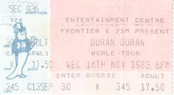 Ticket 16 nov 1983 duran duran Sydney Entertainment Centre, Sydney, Australia.jpg