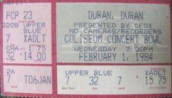 Vancouver BC (Canada), Pacific Coliseum wikipedia concert bowl duran duranticket stub.JPG