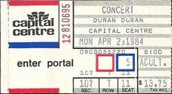 TICKET DURAN DURAN - Concert Ticket Stub CAPITAL CENTRE WIKIPEDIA.jpg