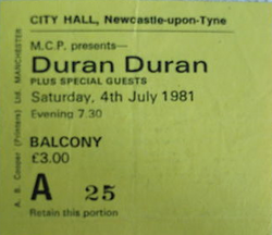 City Hall, Newcastle, England wikipedia duran duran ticket.png