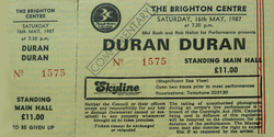 Ticket Duran Duran ticket from Brighton Centre 16th May 1987 wikipedia.png