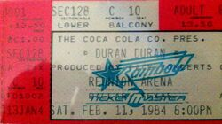 Dallas TX (USA), Reunion Arena wikipedia duran duran concert ticket stub 1984.jpg
