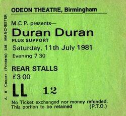 Ticket duran duran birmingham odeon 11 july 1981.jpg