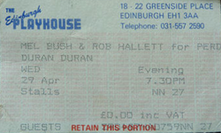 Ticket Duran Duran ticket stub x 2 from Edinburgh 28 & 29 April 1987 wikipedia 29.png