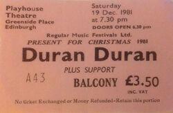 Duran duran band ticket stub Edinburgh Playhouse Edinburgh UK wikipedia.jpg