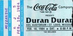 Wiki wikipedia duran duran band ticket stub Kiel Auditorium St Louis MI USA.jpg