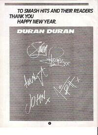 DURAN DURAN Happy Xmas (printed autographs) UK magazine ADVERT wikipedia smash hits.JPG