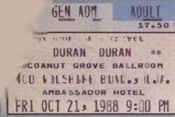 Coconut Grove Ballroom, Ambassador Hotel, Los Angeles, CA, USA. wikipedia duran duran ticket stub wikipedia collection 21 oct 1988 x.JPG