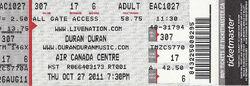 Air Canada Centre, Toronto, ON, Canada. wikipedia duran duran ticket stub collection archive.JPG