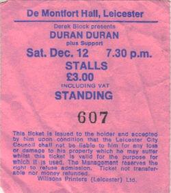 De Montfort Hall, Leicester, England wikipedia theatre ticket stub duran duran com.JPG