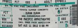 Orange County Fair, Pacific Amphitheatre, Costa Mesa, CA, USA wikipedia duran duran ticket stub.jpg