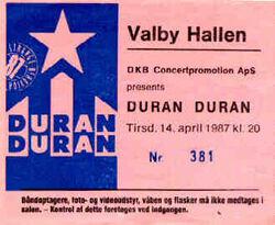 Ticket stubs Valby-Hallen, Copenhagen, Denmark duran duran tour show 14 april 1987.jpg