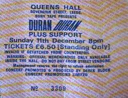 Queens Hall, Leeds, UK. ticket stub wikipedia duran duran 1983 concert.JPG
