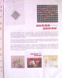 Duran Duran Mirrored Tile from the Rum Runner Club with Photos and History Flyer wikipedia birmingham broad street nightclub.JPG
