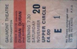 Q Southampton Gaumont ticket stub 20 november 1982 duran duran concert collection wikipedia.JPG