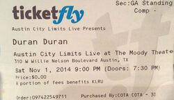 Duran duran ticket wikipedia austin 2014.jpg