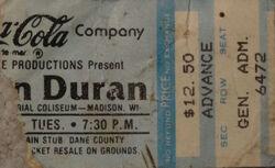 Dane Co. Coliseum, Madison, Wisconsin, USA ticket stub wikipedia duran duran.JPG