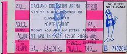 OAKLAND COLISEUM, OAKLAND CA., April 14, 1984 DURAN DURAN ALBUM TICKET STUB MOVIE SHOOT WIKIPEDIA VIDEO.JPG
